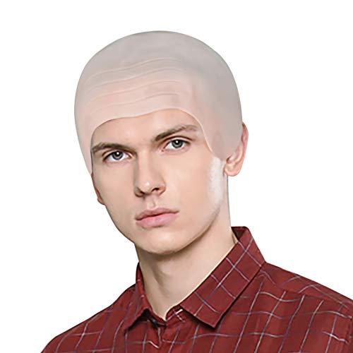 Adult Bald Head Wig Flesh Skin Funny Bald Cap Makeup Props Monk Cosplay Halloween Fancy Dress Accessories Headwear (Beige Bald Cap)