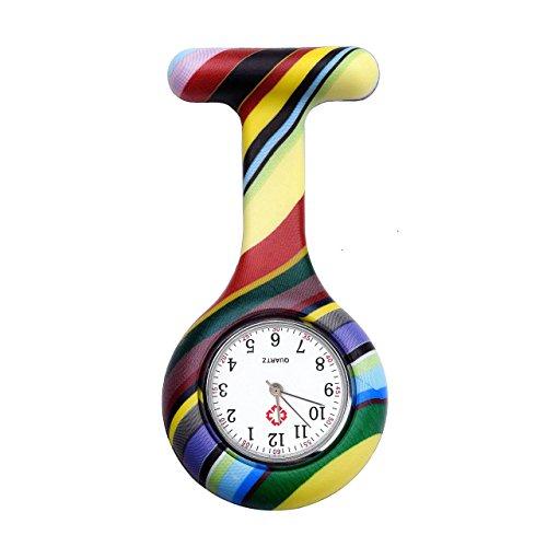 JSDDE Clip Uhr Silikon Krankenschwesteruhr Schwesternuhr Pflegeruhr Kitteluhr Hängeuhr Taschenuhr Artzuhr Tunika Brosche,bunt gestreift