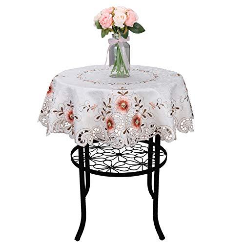 Floral Beige Cutwork Tischdecken Tisch Top für Home Kitchen Hochzeit Party Festival, beige, ROUND 36'(92cm)