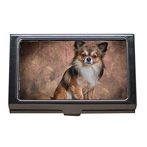 Portatarjetas de visita, Chihuahua Mamífero Perro Animal Piel linda Pequeño, Estuche para tarjetas de visita Acero inoxidable