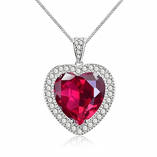 Amor clásico corazón rojo cristal rubí piedras preciosas diamantes collares pendientes para mujeres oro blanco color plata joyería bijoux regalo