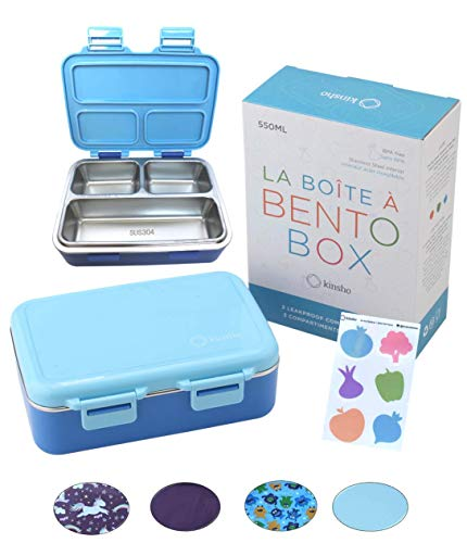 Boîte à déjeuner Bento en acier inoxydable pour les tout-petits et les jeunes enfants, 3 compartiments pour enfants, étanche à l'eau pour les petits déjeuners ou les déjeuners de bébé sans BPA, bleu