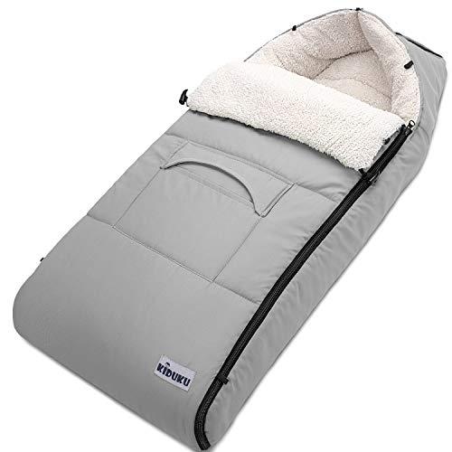 KIDUKU Winterfußsack für Kinderwagen Buggy - Babyfußsack waschbar | Fußsack Babyschale mit Reißverschluss & Tasche