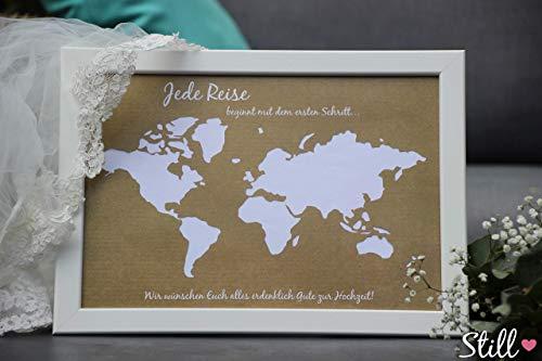 Vintage Geldgeschenk *Weltkarte* zur Hochzeit inkl. Rahmen