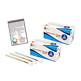 """400 Sterile 6"""" Cotton Tip Applicator 2 Boxes of 100 Packs of 2 - Plus Vakly First Aid Kit Guide 2 Kit contains top selling Cotton Tipped Applicators (4305) plus 1 Vakly How Are You Feeling Sticker Sterile applicators are packaged in packs od 2 with convenient peel-down pouches Cotton tipped applicator sticks (wooden) and tips are manufactured to uniform length and shape"""