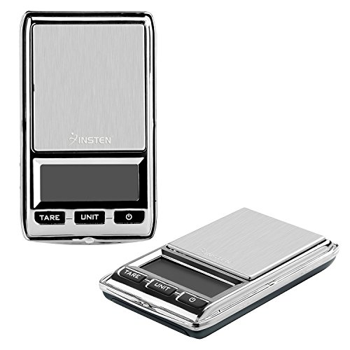 Insten Digital Scale for Jewelers, Coffee, Kitchen, Pocket Sized with Leather Bag, Refined Accuracy up to 0.01g [0g to 500g], Stainless Steel Scale LCD Display, Unit g/oz/ozt/dwt/ct, Silver