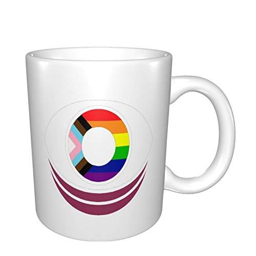 N\A hite SSS Support Pride Impreso Taza de té de café de cerámica de Dos Caras Bebidas de té de Agua Taza fría y Caliente