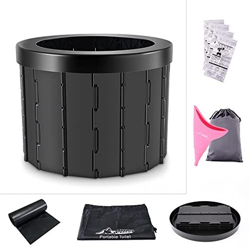 Wadeo Toile Portatile Pieghevole Lavabile in Plastica ABS per Viaggi Escursionismo, Campeggio, Canottaggio, Ingorgo, Nero, 1,5 kg