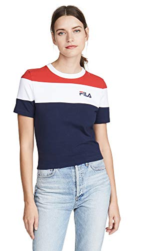 Fila Women's Maya Crop Tee, Peacoat/Chinese Red/White, Small
