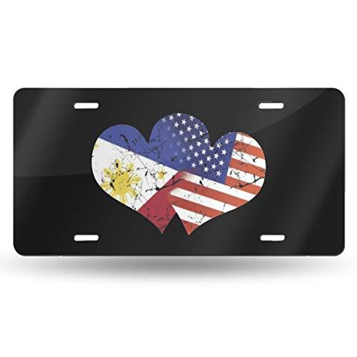 QAAIFSQC USA American Flag and Filipino Philippines Flag License Plate Metal Aluminum Vanity Auto Car Tag for Decoration 6x12 Inchs