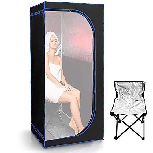 YJF-MRY Tragbares Infrarot-Home-Spa in Voller Größe - Sauna Für Eine Person Mit Beheiztem Fußpolster Und Tragbarem Stuhl, Übergroße Ganzkörper-Infrarotsauna Für Den Innenbereich