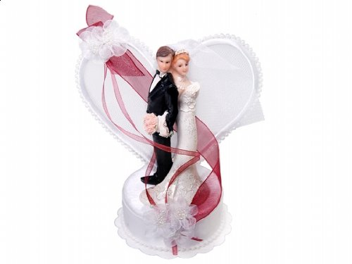 SiDeSo® Tortenaufsatz Hochzeit Tortendeko Brautpaar Tortenfigur (Herzpodest rot)