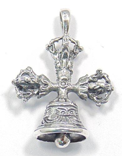 Zilveren hanger Dorje 3-voudig met bel, Tibetaanse hanger, 925 sterling zilver