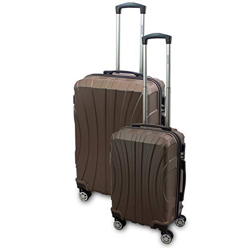 BERWIN® Kofferset M + L 2-teilig Reisekoffer Trolley Hartschalenkoffer ABS Teleskopgriff Modell Strike (Braun)