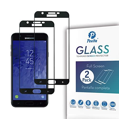 Pevita Protector de Pantalla para Samsung Galaxy J7 [2 Packs] Full Screen. Dureza 9H, Sin Burbujas, Fácil Instalación. Protector de Pantalla de Cristal Templado Premium para Samsung Galaxy J7
