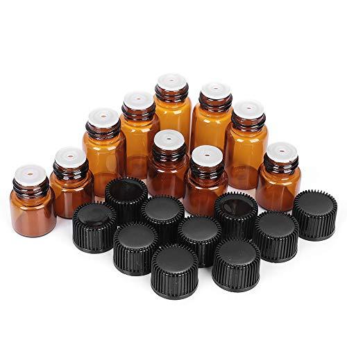 10 PCS 1/2/3/5 ML Mini Bouteille d'huile Essentielle Bocal Orifice Brown Réducteur et Cap Bouteilles Rechargeables Flacons en Verre Contenants de cosm