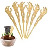 72 Pcs Halloween Cupcake Toppers, Skeleton Hand Cocktail Picks - for Zombie Monster Hand Cake Topper Food Decorations by 4E's Novelty