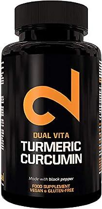 DUAL VITA Turmeric Curcumin |Máxima Potencia de 1350mg Por Dosis|100 Cápsulas Para Hombres y Mujeres|Curcumina de Cúrcuma Orgánica Sin Aditivos|Suplemento 100% Natural|Certificado|Hecho en la UE