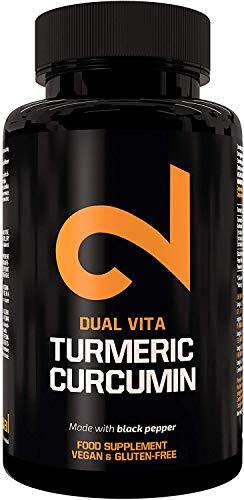 DUAL VITA Turmeric Curcumina  Per Uomini e Donne   Organico   Integratore alimentare naturale al 100%   Massima potenza 1350mg   Certificato in laboratorio   Senza...