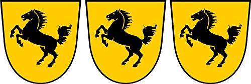 Michael & Rene Pflüger Barmstedt 3 x Mini Aufkleber Stuttgart Wappen Pferd Sticker fürs Fahrrad Motorrad Autoaufkleber
