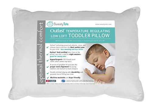 Toddler Pillow for Hot or Sweaty Sleepers - 13 x 18, White,...