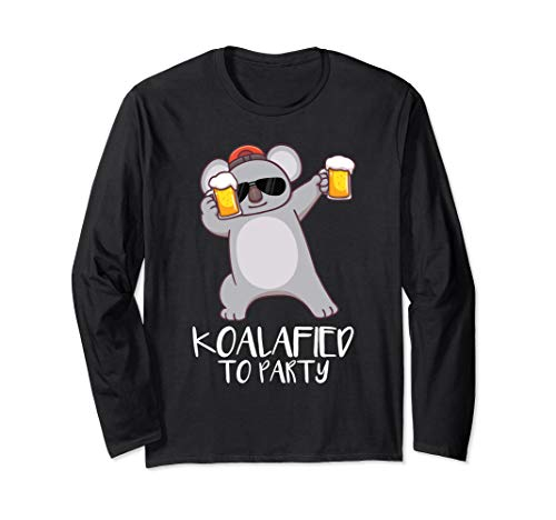 Koalified To Party Koala Partying Funny Pun Gift T Shirt
