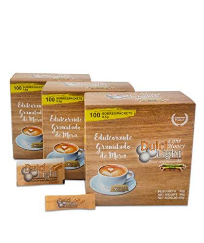 DULCILIGHT MIEL DE CAÑA MORENO EDULCORANTE GRANULADO NATURAL de azúcar de caña integral con el sabor del azúcar Moreno integral o panela 300 Sobres, Producto Premium Gourmet