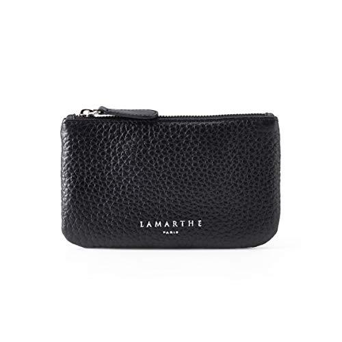 LAMARTHE PARIS - Elegante Echtleder Damen Designer Pochette Tasche, Kosmetiktasche für Frauen mit Reisverschluss, Schwarz