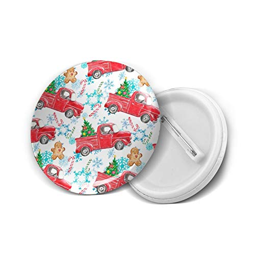Snow Snowy Vintage Retro Farm Red Red Truck Candy Cane Gingerbread Country Round Brooch Badge Pins For Women Men Girls T Shirt Bag Backpacks Hat Accessories