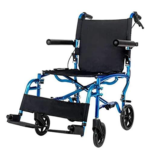 YIQIFEI Dispositivo de Viaje portátil de preparación Plegable de Aluminio Ligero para Silla de Ruedas para la Comodidad del Cuidador de Ancianos, Azul (Silla de Ruedas)