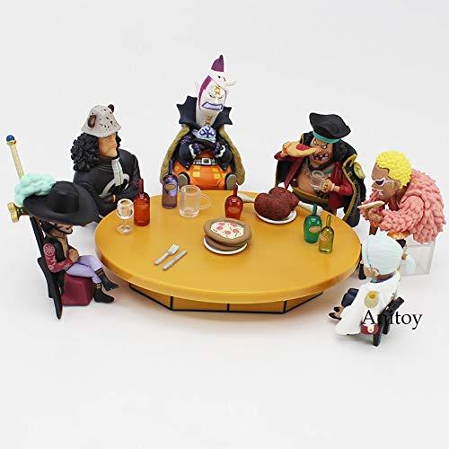 Anime One Piece Sieben Warlords of The Sea Konferenztisch Set + Mitglieder PVC Figuren Spielzeug