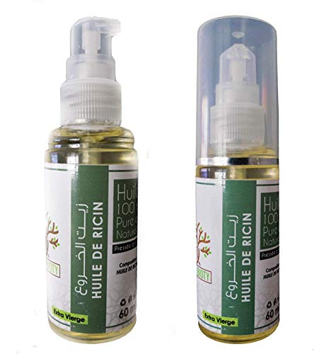 Huile de Ricin 100% Végétale PURE de Pousse de Sourcil Barbe et Cheveux - Renforce Cuticule (60 ML)