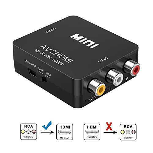 Gshy - Adaptador RCA a HDMI AV a HDMI Compatible con 1080P con Cable de Carga USB para PC portátil, Xbox PS4, PS3, TV STB, VHS, videocámara, DVD Negro
