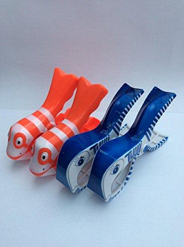 Deux Paires de Boca Style Chaise Longue balancelle Plage Serviette Clips, Poisson Clown et Baleine
