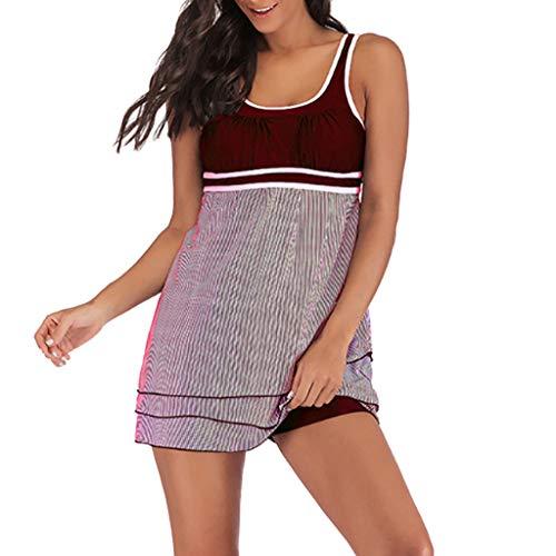 QingJiu Damen Übergrößen Streifendruck gepolsterter BH Bikini Top Frauen Strand Badeanzug Anzug Plus Size Shorts (XXXXX-Large, Wein)