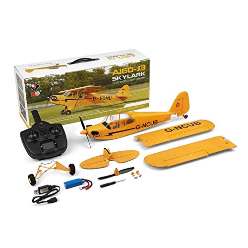 A160 RC Plane Control Remoto Control Airplane Toy, Modelo 3 y 6 Axis Modelo de avión de control remoto, Motores sin escobillas de 2.4GHz Aeroplano Glider for principiantes Adultos Niños (Amarillo) liu