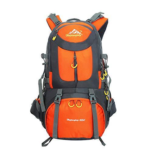 YHSW Sac à Dos de randonnée étanche, Grande capacité, adapté aux Hommes et aux Femmes, Fitness Sportif, Voyages en Plein air, Camping en Plein air Orange 55x30x20cm