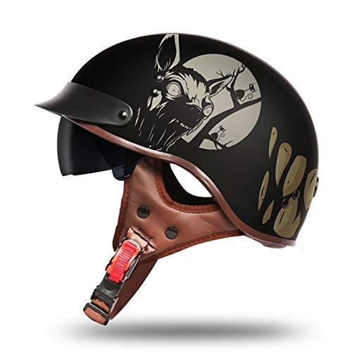 MYSdd Retro Motorradhelm Persönlichkeit Retro Männer und Frauen Motorradhelm Roller Helm geeignet für das Tragen in verschiedenen Umgebungen - 11 XM