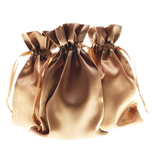 """Knitial 5"""" x 8"""" Old Gold Satin Bags, Jewelry Bags, Wedding Favor Drawstring Bags Baby Shower Bags 50 per Pack"""