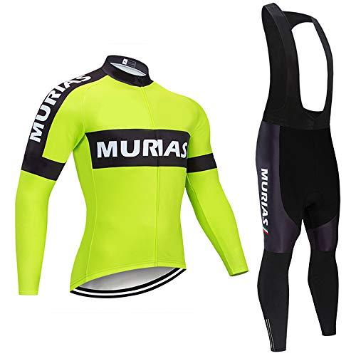 Radsport Anzüge Herren Radtrikot Langarm Fahrradbekleidung Herren Set Atmungsaktiv mit 3D Gel Pad Hose für Rennrad Radsport Profiteam Bekleidung