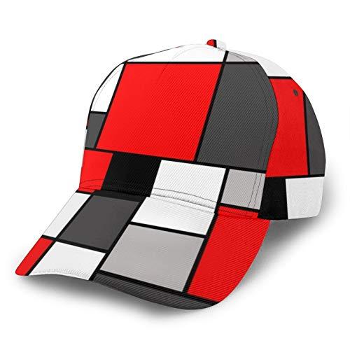 Gorra de béisbol para hombre y mujer, ajustable, para padres, color rojo, negro y gris, cuadrados, ajuste para cola de caballo juvenil, dama, tenis, pelota de golf, gorra ajustable