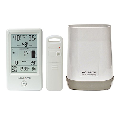 commercial AcuRite 01089M rain gauge with thermometer and humidity thermor jumbo rain gauge easy read