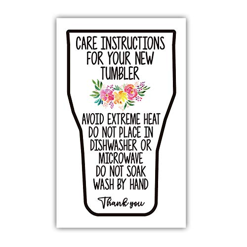 """Tumbler Care Cards, (Pack of 50) 3.5"""" x 2"""" Tumbler Care Instructions, Tumbler Care and Cleaning Cards, Cup Care Instructions"""