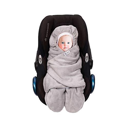 SWADDYL ® Fußsack Einschlagdecke I Baby Wintersack I Babydecke für Babyschale, Kinderwagen - für Winter aus Fleece/Baumwolle (Blau)