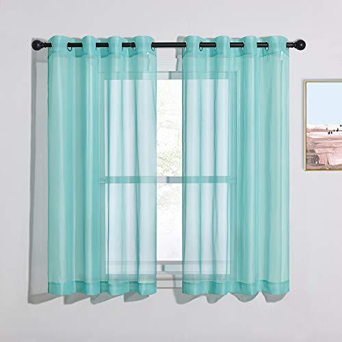 "NICETOWN Grommet Sheer Curtain Panels - Short Voile Window Curtains 45"" Long for Nursery/Kids Room/Kitchen/Bedroom (54"" Wide, Pool Blue, Set of 2)"