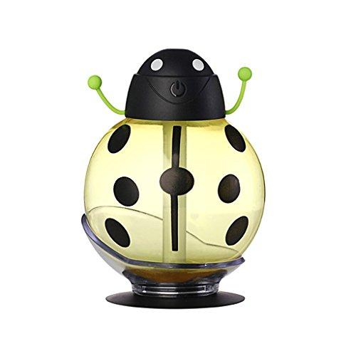 QIHANGCHEPIN Humidificador ultrasónico escarabajo USB coche humidificador Mini fragancia dispersor de aceite apagar automáticamente la luz nocturna oficina en casa (amarillo) (Color : Amarillo)