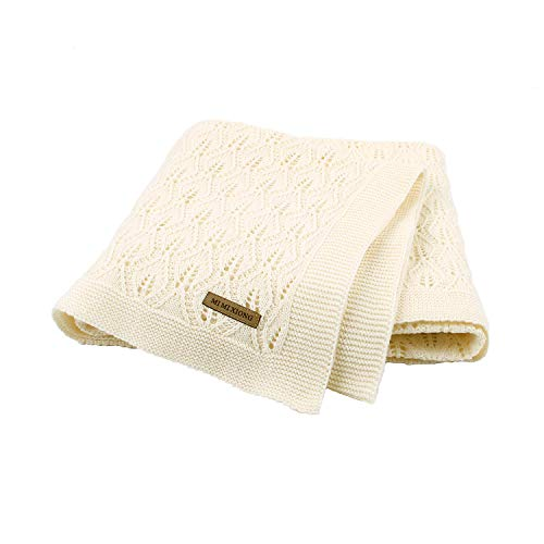 Taotigzu Manta de algodón para bebé, 80 x 100 cm, manta de punto acogedora, manta versátil para bebé, manta de lana para cochecito (blanco crema)