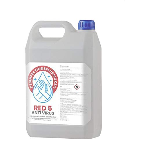 Red 5 Händedesinfektionsmittel - Aloe Vera Duft - Haut Desinfektionsmittel auch für Flächen – begrenzt viruzid 5 Liter (5L) – Schnelldesinfektion – Händedesinfektion – Händehygiene – Hautdesinfektion