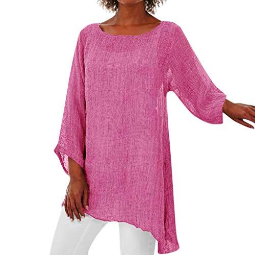 HGWXX7 Women's Plus Size Long Sleeve Linen Shirts Casual Asymmetrical Tops Tunic Blouse Pink