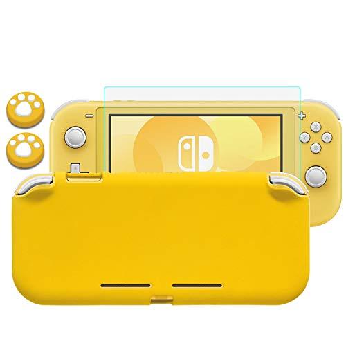 Lammcou Carcasa para Nintendo Switch Lite Funda de Protección Silicona Liquida Grip Funda de Agarre con Cristal Templado Protector de Pantalla & Tapas de Agarre para el Pulgar, Switch Lite Case